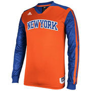 New York Knicks adidas Youth On-Court Impact Long Sleeve Shooting Shirt - Orange/Royal Blue - Dino's Sports Fan Shop