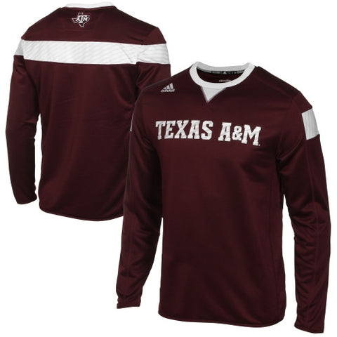 Texas A&M Aggies Adidas Sideline Climalite Long Sleeve Pullover - Dino's Sports Fan Shop