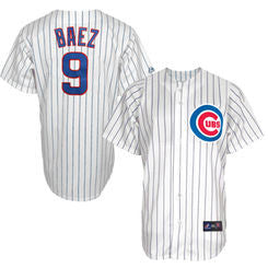 Javier Baez #9 Chicago Cubs MLB Majestic White Replica Cool Base Youth Jersey - Dino's Sports Fan Shop