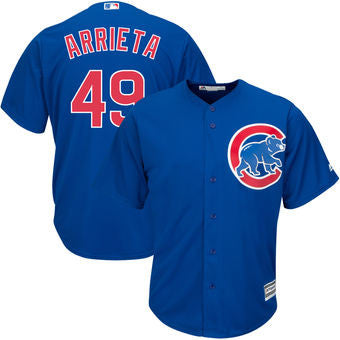 Jake Arrieta #49 Chicago Cubs MLB Majestic Youth Blue Replica Cool Base Jersey - Dino's Sports Fan Shop