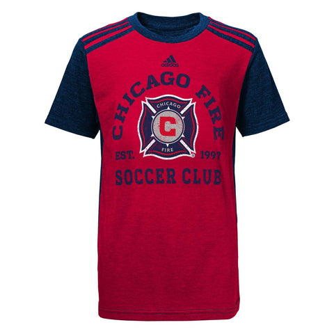 MLS Youth Boys 8-20 Chicago Fire Club Triblend Boys Short Sleeve Tee, Red - Dino's Sports Fan Shop