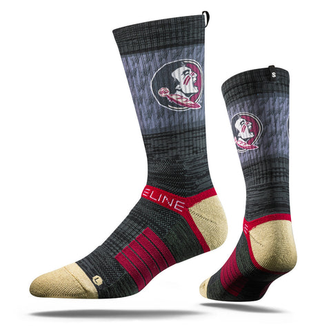 Florida State Seminoles Strideline Charcoal Collegiate Adult Socks - Dino's Sports Fan Shop