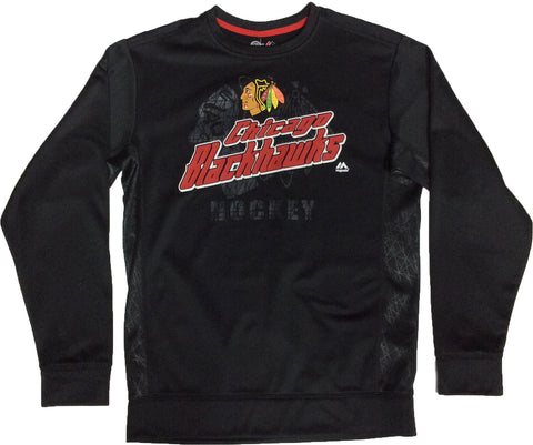 Chicago Blackhawks Majestic Men's Black Crewneck Pullover - Dino's Sports Fan Shop