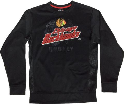 Chicago Blackhawks Majestic Slashing Crew Sweatshirt - Dino's Sports Fan Shop