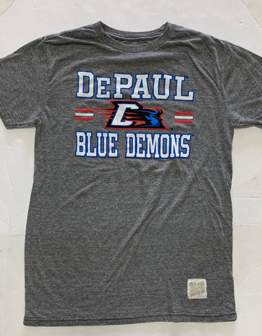 Depaul Blue Demons Adult Retro Brand Gray Shirt