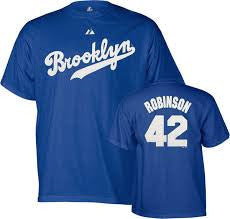 Jackie Robinson #42 Brooklyn Dodgers Majestic Cooperstown Collection Adult Shirt - Dino's Sports Fan Shop