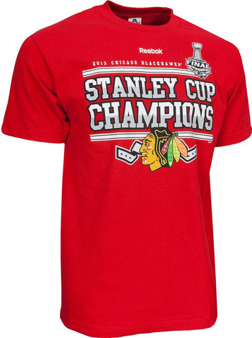 Chicago Blackhawks Reebok 2013 Stanley Cup Champions Adult Shirt - Dino's Sports Fan Shop