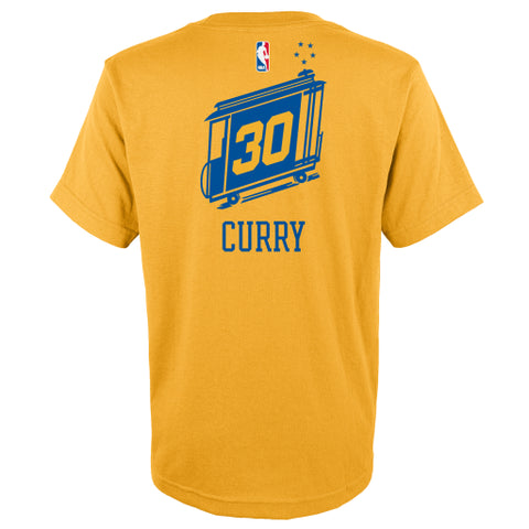 Stephen Curry #30 Golden State Warriors Adidas Throwback Gold Youth Shirt - Dino's Sports Fan Shop - 1