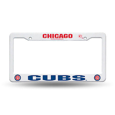 Chicago Cubs MLB Plastic White License Plate Frame