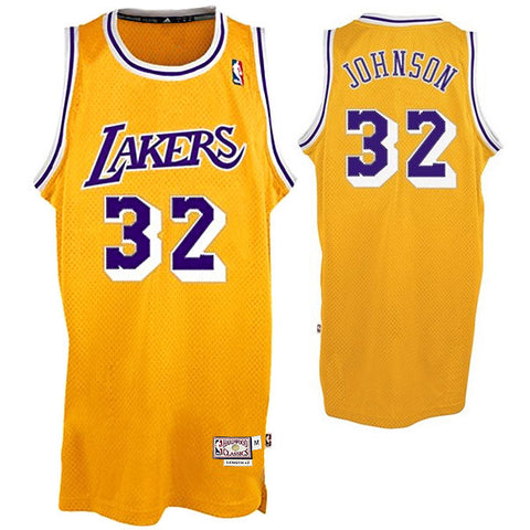 Magic Johnson #32 Los Angeles Lakers Adidas NBA Throwback adidas Swingman Jersey - Gold - Dino's Sports Fan Shop