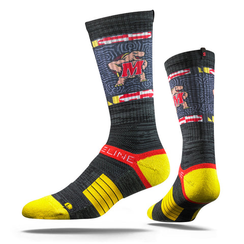 Maryland Terrapins Strideline Charcoal Terps Strapped Fit 2.0 Collegiate Socks - Dino's Sports Fan Shop