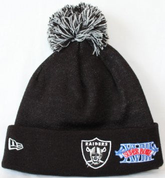 Oakland Raiders New Era Super Bowl Patch Cuffed Knit Hat - Dino's Sports Fan Shop