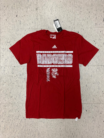 University of Wisconsin Badgers Adult Adidas The Go-To Tee Red Shirt (S)