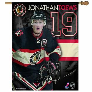 "Jonathan Toews #19 Chicago Blackhawks Wincraft Vertical Flag - 27"" x 37"" - Dino's Sports Fan Shop"
