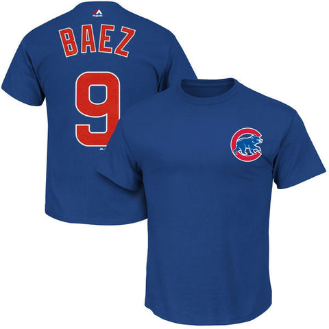 Javier Baez #9 Chicago Cubs Majestic Blue Adult Shirt - Dino's Sports Fan Shop