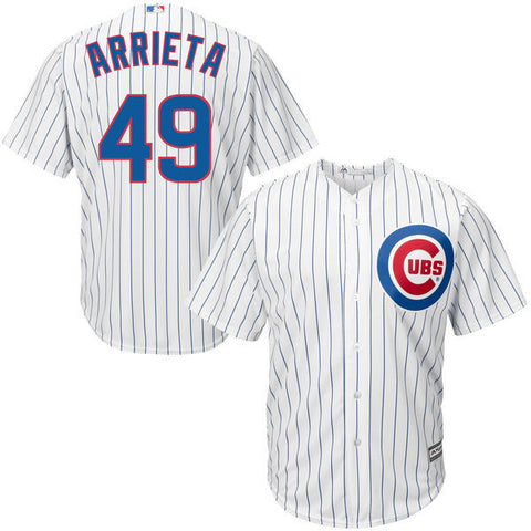 Jake Arrieta #49 Chicago Cubs Majestic Cool Base White Home Stitched Jersey - Dino's Sports Fan Shop