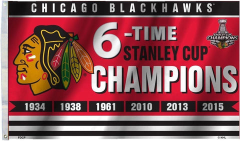 Chicago Blackhawks Wincraft 2015 6-Time Champions Flag - 3' x 5' - Dino's Sports Fan Shop
