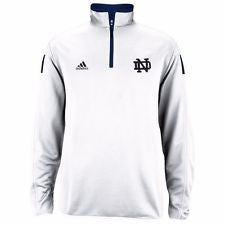 Notre Dame Fighting Irish Adidas White Sideline Quarter Zip Pullover - Dino's Sports Fan Shop