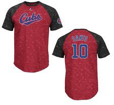 Ron Santo #10 Chicago Cubs Majestic Red & Black Raglan Adult Shirt - Dino's Sports Fan Shop