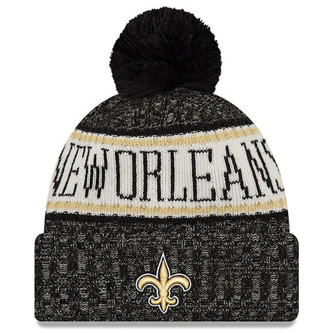 New Orleans Saints New Era NFL Black Sideline Winter Hat