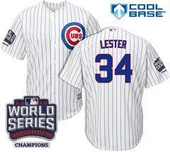 Jon Lester #34 Chicago Cubs Majestic 2016 World Series Champions Patch White Men's Jersey