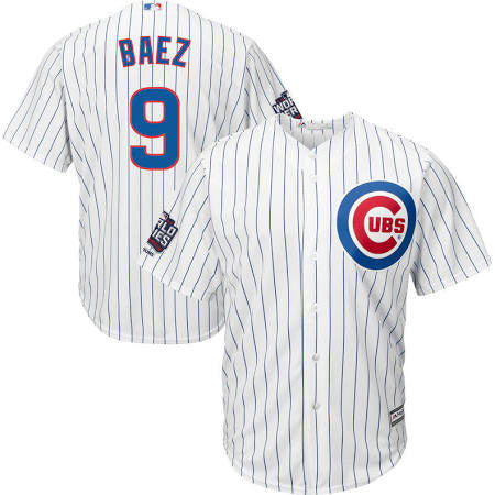 Javier Baez #9 Chicago Cubs Majestic 2016 World Series Champions Patch White Men's Jersey