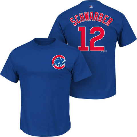 Kyle Schwarber #12 Chicago Cubs Majestic Adult Shirt - Dino's Sports Fan Shop