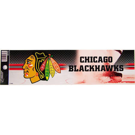 Chicago Blackhawks Wincraft w/ Puck 3x12 Bumper Sticker