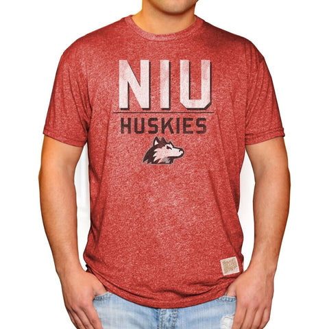 Northern Illinois Huskies Adult Retro Brand Deep Red Tri Blend Shirt