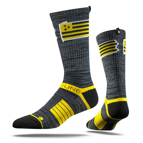 Pittsburgh Steelers Strideline Steel City Flag Black & Yellow Strapped Fit 2.0 City Socks - Dino's Sports Fan Shop