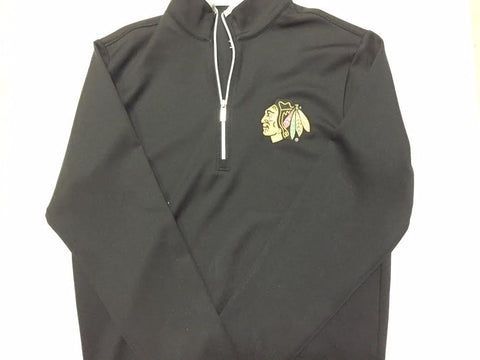 Chicago Blackhawks Antigua Black Men's Quarter Zip - Dino's Sports Fan Shop