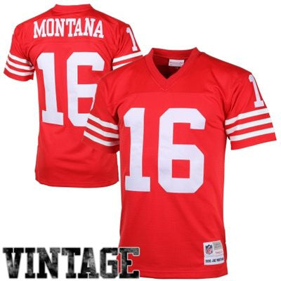Joe Montana #16 San Francisco 49ers NFL Premier Throwback Adult Mitchell & Ness Red Jersey - Dino's Sports Fan Shop