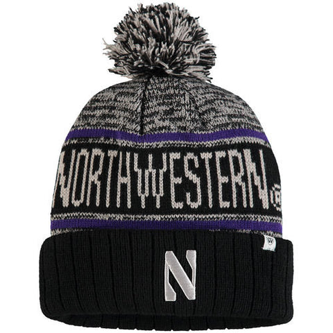 Northwestern Wildcats Top Of The World NCAA Black/Grey/Purple Acid Rain Adult Knit Hat