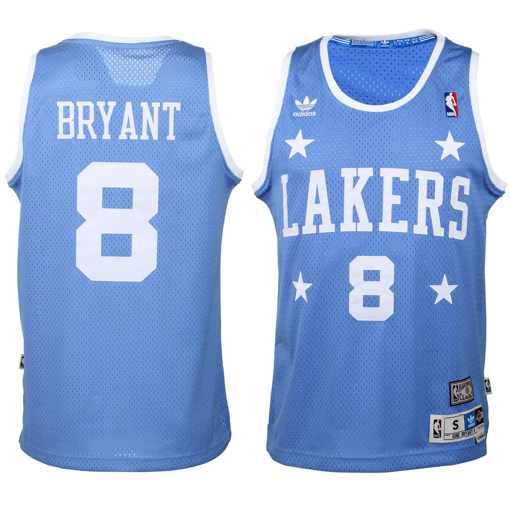 4452e16e5e9 Kobe Bryant  8 Los Angeles Lakers Adidas Hardwood Classics Sky Blue  Throwback Adult Jersey