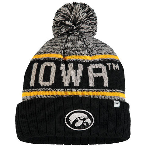 Iowa Hawkeyes Top Of The World NCAA Black/Grey Acid Rain Adult Knit Hat