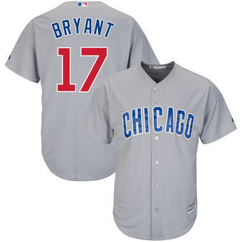 Kris Bryant #17 Chicago Cubs MLB Majestic Gray Stitched Adult Cool Base Jersey - Dino's Sports Fan Shop