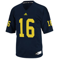 Michigan Wolverines #16 NCAA Adidas Navy Blue Youth Replica Football Jersey - Dino's Sports Fan Shop