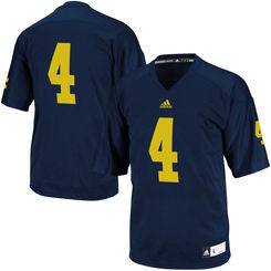 Michigan Wolverines #4 NCAA Adidas Navy Blue Youth Replica Jersey - Dino's Sports Fan Shop