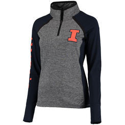 Illinois Fighting Illini Antigua Gray 1/4 Zip Sweatshirt - Dino's Sports Fan Shop