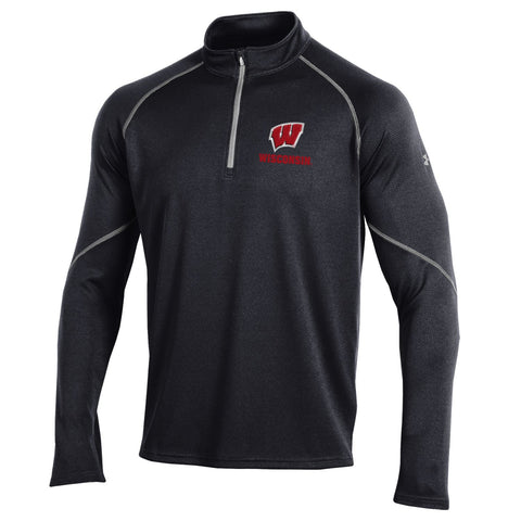 "Wisconsin Badgers Under Armour Adult Black ""Prevail"" Performance 1/4-Zip"
