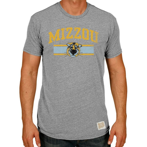 Missouri Tigers Retro Brand NCAA Streaky Grey Tiger Logo Adult Shirt