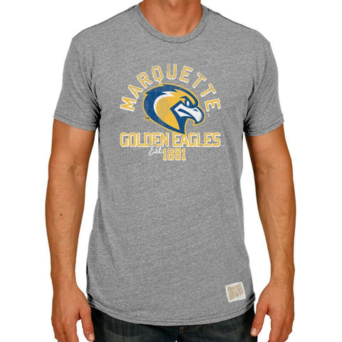 Marquette Golden Eagles Retro Brand Streaky Grey Arch Logo Shirt