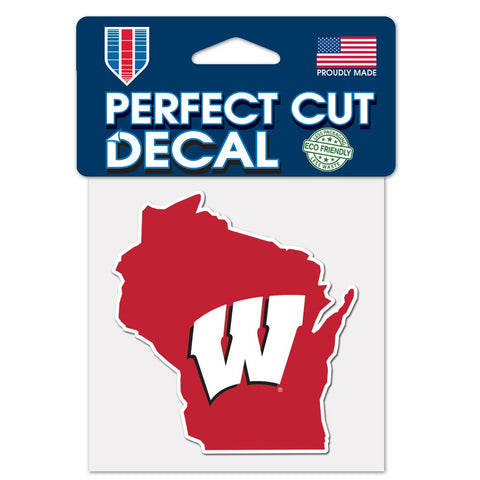 Wisconsin Badgers State Wincraft Perfect Cut Decal 4x4