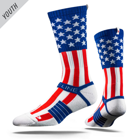Uncle Sam Flag Youth Strideline Strapped Fit 2.0 Socks - Dino's Sports Fan Shop