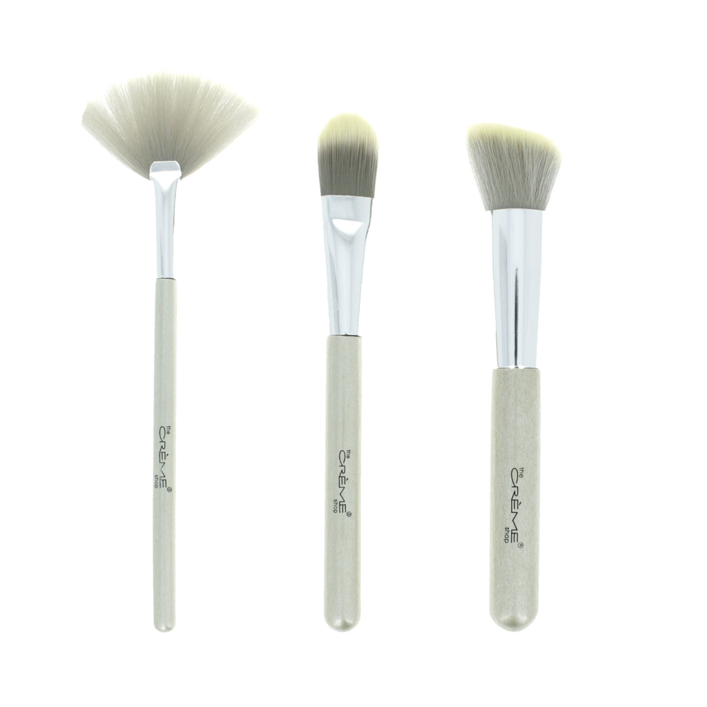 Work of Art  - 3 Brushes for a Picture Perfect Finish Silver - the-creme-shop-cosmetics-and-beauty-supply
