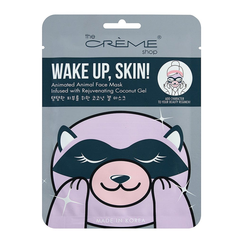 Wake Up, Skin! Animated Raccoon Face Mask - Rejuvenating Coconut Gel, Animated Sheet Masks - The Crème Shop