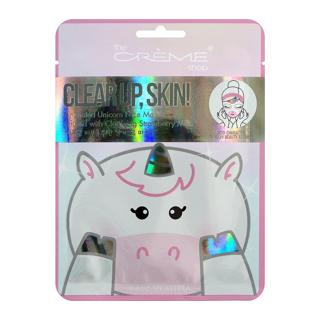 Clear Up, Skin! Unicorn Face Mask - Infused with Clarifying Strawberry Milk - The Crème Shop