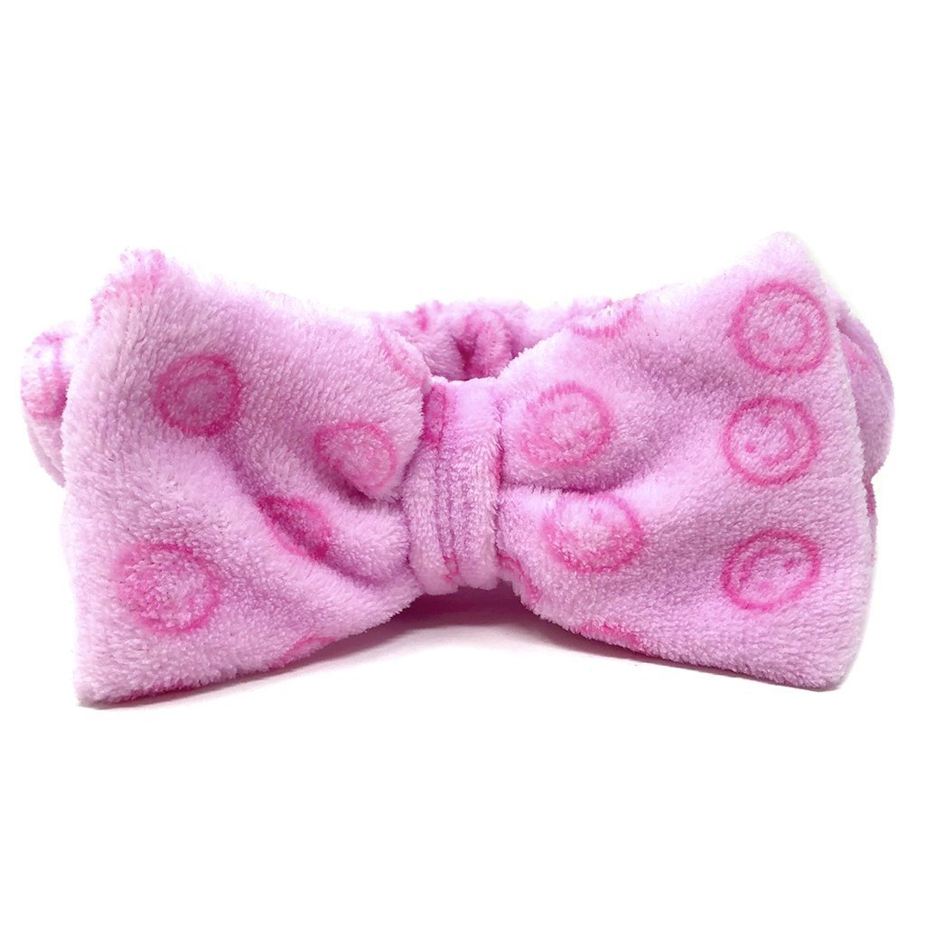 Pink Teddy Headyband with Smiley Faces - the-creme-shop-cosmetics-and-beauty-supply