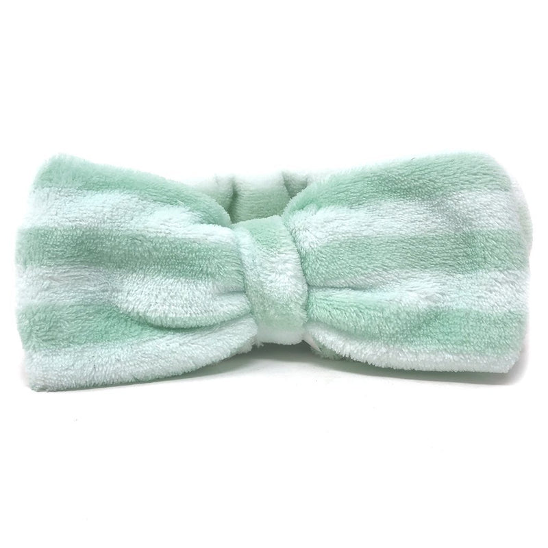 Mint Green Teddy Headyband with Stripes - The Crème Shop
