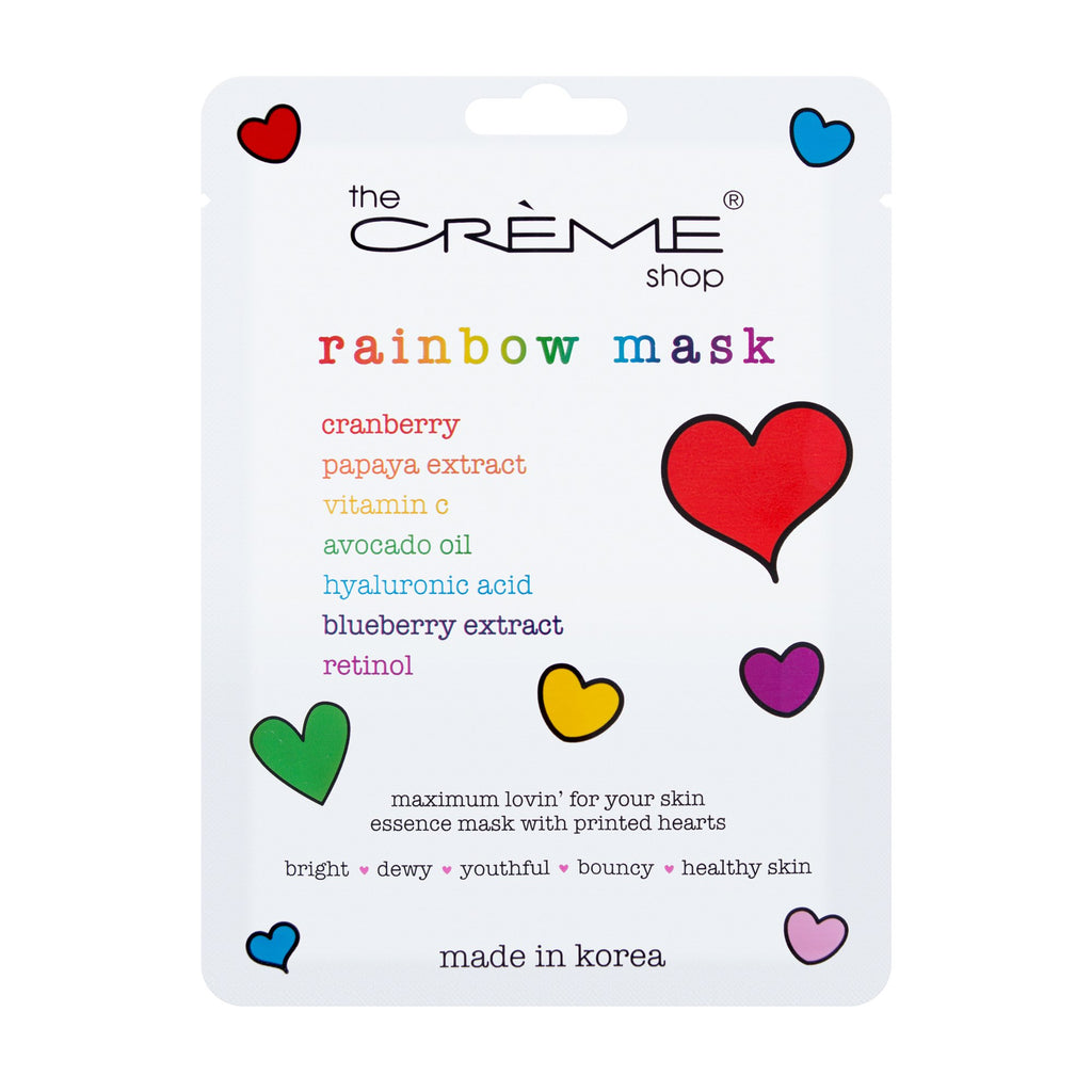 Rainbow Face Mask Printed with Rainbow Hearts - The Crème Shop
